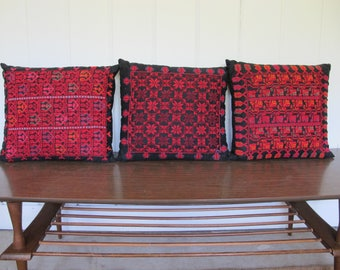 Vintage Thai Cross Stitch Black Pillows with Colorful Detailing (Set of 3)