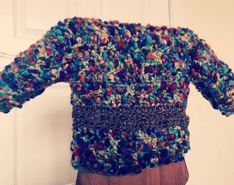 Handcrafted crocheted rainbow jumper