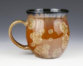"Crystalline 20 oz Mug Golden Brown Honey Caramel Adobe ""Tiger Eye"" with Black Cup #1083"