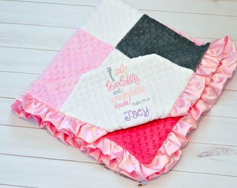 Baby Blanket - Baby Girl Blanket - Minky Baby Blanket - Ruffled Baby Blanket - Bible Verse - Personalized Blanket - Pink, Grey, & White