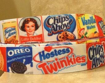 "Vintage cookie ribbon Dog hair bow 7/8"""