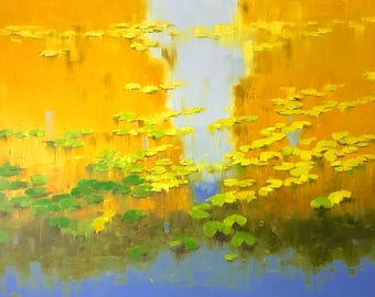 Waterlilies in Autumn, Oil Painting, Handmade artwork, large size painting,  One of a kind