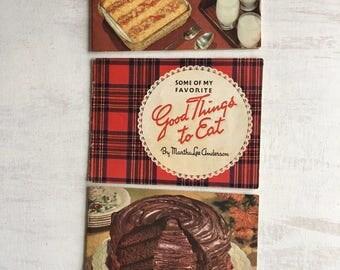 3 Little Vintage Cookbooks From 1940-53