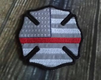 US Flag Maltese Cross Hat PATCH - Fire Fighter - Fire Department -  Digital Embroidery Design