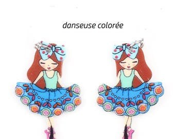 X 1 dancer skirt blue tone and colored acrylic