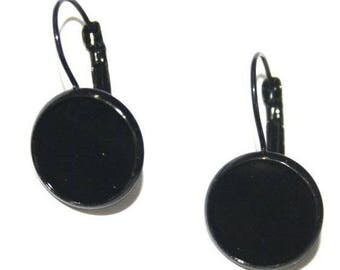 2 black earrings 12mm cabochon