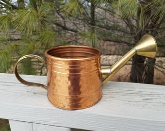 Hammered Copper & Brass Watering Can Decorative