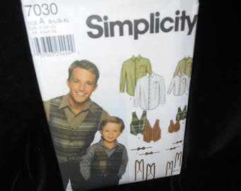 Simplicity 7030 Boys Sizes Small-Large Mens Small-Extra Large Shirt Vest Bow tie Suspenders