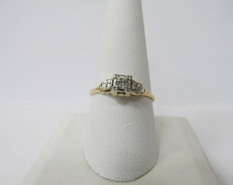 14 Karat White Gold and Yellow Gold Old European Cut Diamond Ring W #695