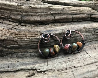 Wire Wrapped Copper Jasper Circle Knot Earrings