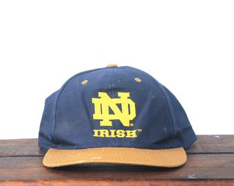 Vintage 90's University Of Notre Dame Fighting Irish UND Snapback Hat Baseball Cap