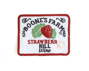 "Vintage Boone's Farm Strawberry Hill Wine Cheap Booze Drinking Alcohol Embroidered Patch 3.75"" x 3"""