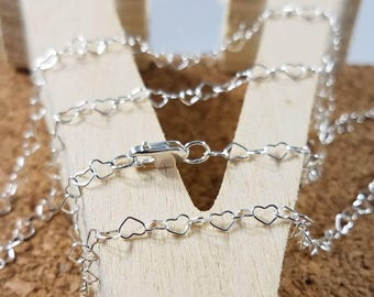 Sterling Silver Heart Link Chain, Heart Chain, Silver Heart Links, Silver Chain, Sterling Heart Necklace, 925 Heart Link, Love Necklace