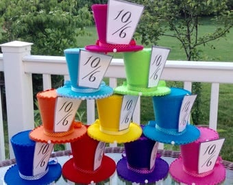 """Alice in Wonderland Photo Props, Mad Hatter Tea Party Decorations, 10 Colorful Medium Felt Top Hats (4.5"""" Tall) - Birthday, Bridal Shower"""