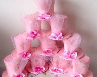 """Set of 10 Pink Mad Hatter Tea Party Hats, Fascinators, Alice in Wonderland Decorations, Favors, Birthday, Baby, Bridal Shower (3.5"""" Tall)"""