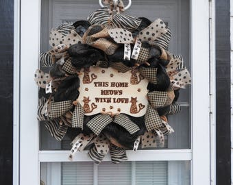 This Home Meows With Love Deco Mesh Wreath