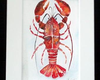 Lobster Painting in  White Frame, Original Watercolor Art, Ocean Art, Sea Art