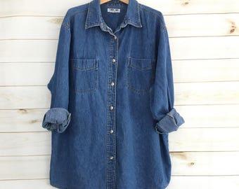 Vintage 80's Denim Long Sleeve Button Up Shirt Women's Plus Size 2X