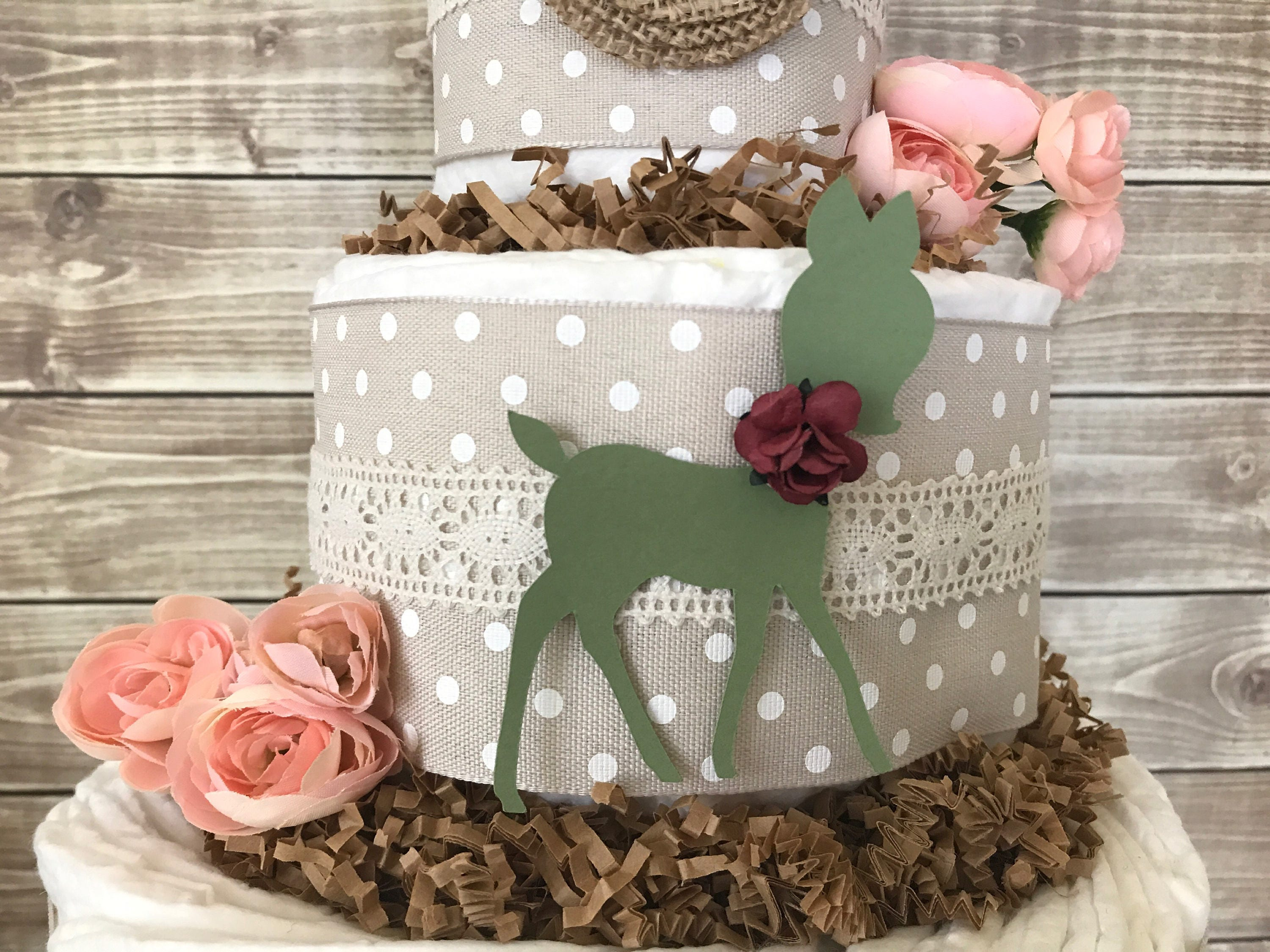 A Little Dear is Almost Here Diaper Cake Shabby Chic Baby Shower