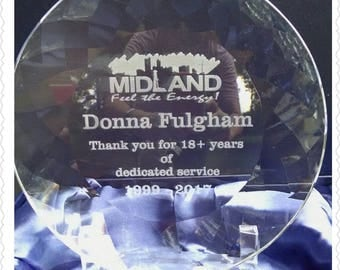 Corporate Gift/Crystal Award Plate/Sales Award/Personalized Award/Engraved Plate/Anniversary Gift/Memorabilia/Wedding Gift/Company Gift