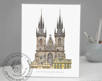 Prague Old Town Square, Church of Our Lady before Týn. Detailed pen drawing Limited Edition FINE ART GLICEE prints available.