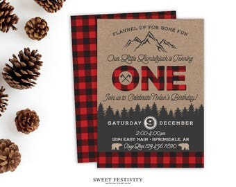 Lumberjack Invitation, Lumberjack Party, Birthday Invitation, Red Plaid Invitation, Buffalo Check Invitation, 1st Birthday, First Birthday