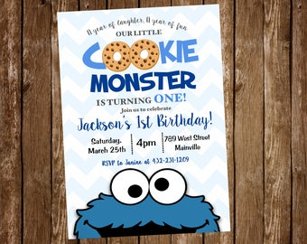 Cookie Monster, First Birthday, 1st Birthday, One year, Sesame Street, Birthday Party, Invitation - Printable or Printed