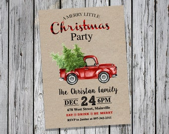 Christmas Party Invitation, Christmas Dinner, Christmas, Holiday, Truck, Tree, Christmas Party - Printable or Printed
