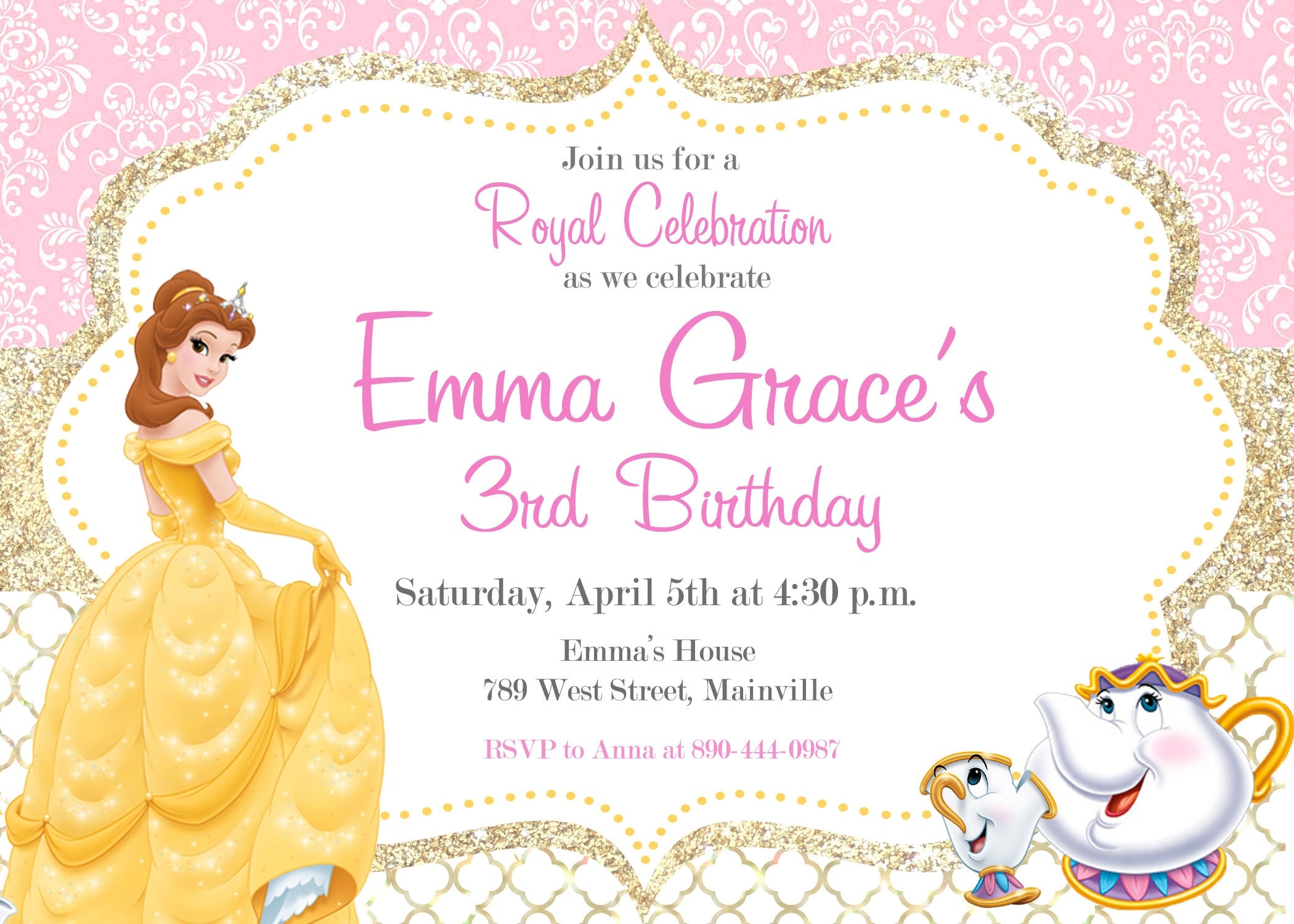 Beauty and the Beast, Princess Belle, Birthday Party Invitation ...
