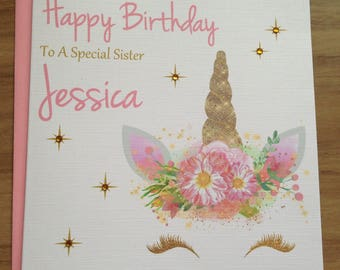 Handmade Personalised Unicorn Birthday Card Daughter ,Sister ,Granddaughter ,Niece +