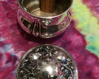 Vintage Silver Plate Cottonball and/or Powder Holder