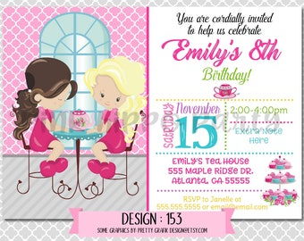 Tea Party, Girls:Design #153-Children's Birthday Invitation, Personalized, Digital, Printable, 4x6 or 5x7 JPG