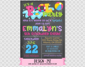 Pool Party Girl Chalkboard, End of Summer:Design #242-Children's Birthday Invitation, Personalized, Digital, Printable, 4x6 or 5x7 JPG