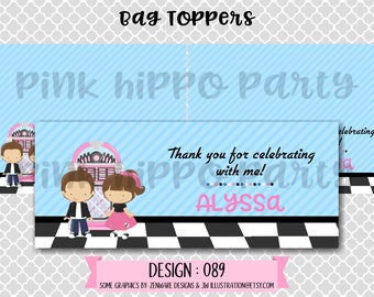 Sock Hop, 50's Diner, Juke Box, Fifties Party:Design #089-PRINTABLE Party Bag Toppers, Thank You Favors, Birthday Party Gift Bags