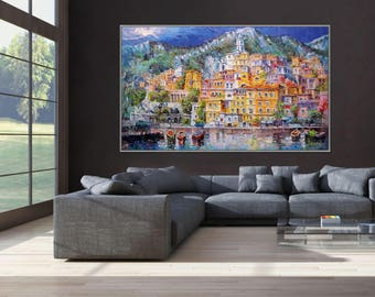 "Amalfi Coast Positano Italian Seascape Painting Italy Art, 48x80""/120x200cm Palette Knife Art Textured extra large Oil Painting"