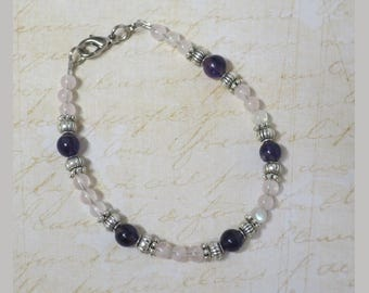 Gemstone bracelet with Amethyst, Rose Quartz and silverplated beads CCS192