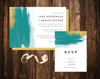 Teal & Gold Watercolor Wedding Invitations; Simple; Printable OR set of 25