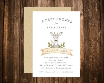 Woodland Deer Baby Shower Invitation; Watercolor; White; Simple; Printable or set of 10