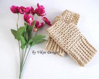 Ntural Crochet Fingerless Gloves , Hand warmer, Winter Gloves by Vikni Designs