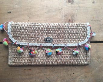 Upcycled vintage wicker bag with pompoms