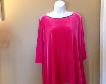Ladies Pink Stretch Velvet Tunic