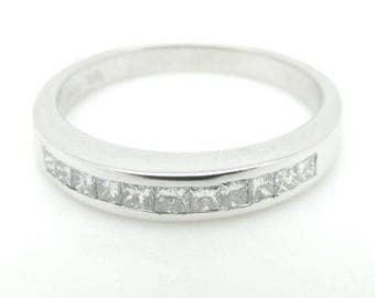 14K White Gold 0.50cttw Princess Cut Diamond Half Eternity Wedding Band Ring; sku # 1435