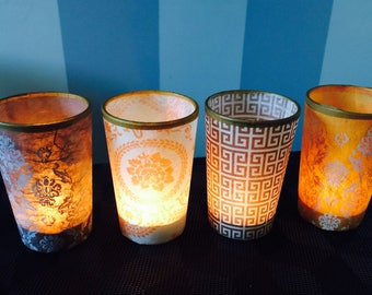 Glass Votive Candle Holders with Choice of Chic Decoupage Designs.