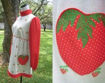 RESERVED San Gabriel Strawberry Shortcake Babydoll Mod Mini Dress Late 1960s '70s Novelty Fruit Print Cosplay S Small - M Medium 34 -36 BUST