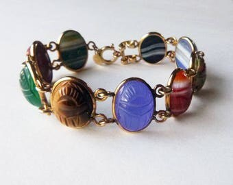 Mid-Century semi precious stone scarab gold filled double link Egyptian revival good luck bracelet
