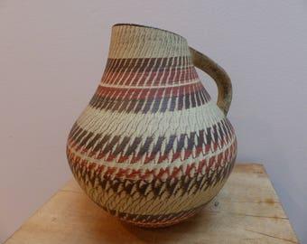 Vintage MCM West German SGRAFFITO Pitcher Vase by Dümler & Breiden