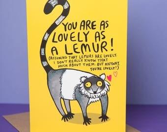 Lovely Lemur Greeting Card - Monkey - Cute card - Friend card - Thank you card - Well done - encouragement - birthday card - Anniversary