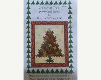 """Summer Sale- Pattern~Christmas Tree Pinwheel Twist Pattern Using 5"""" Squares and the Lil' Twister Tool Fast Shipping PT231"""