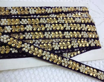 Indian Embroidered Trim, Fabric Lace, Decorative Ribbon, Saree Border, Indian Lace with Kundan Work - 9 yards