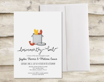 Lowcountry Boil Invitation, Low Country Boil Invitation, Shrimp Boil Invitation, Couples Wedding Shower Invitation, Seafood Boil Invitation